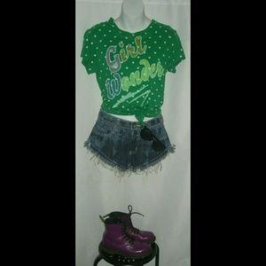 Rebel Yell Girl Wonder Tee Shirt Retro Hearts